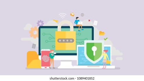 Data Security Tiny People Character Concept Vector Illustration, Suitable For Wallpaper, Banner, Background, Card, Book Illustration, Web Landing Page, and Other Related Creative