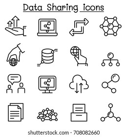 Data sharing icon set in thin line style