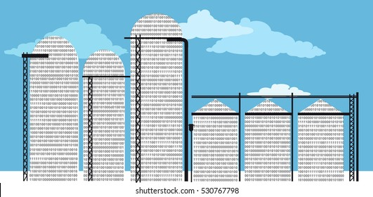 Data silo filled with computer code, EPS 8 vector illustration