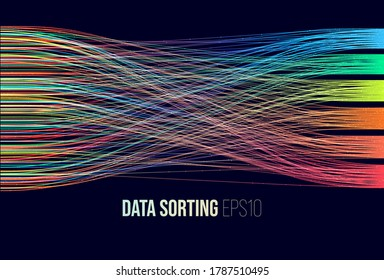 Data sorting. Big data analytics stream. Information classification.