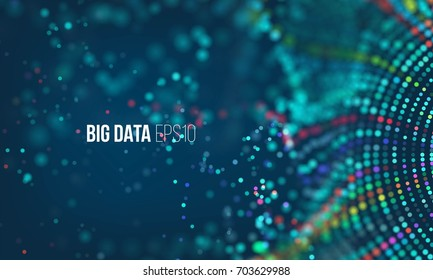 Data sorting flow process. Big data stream futuristic infographic. Colorful particle wave with bokeh