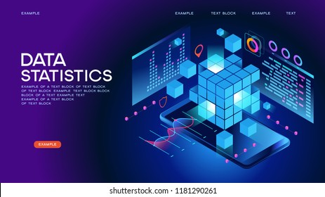 Data statistics Web Banner. Data visualization concept. 3d isometric vector illustration. Page template.