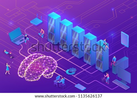 Data storage and artificial intelligence concept with electric brain, people, neural network, isometric 3d illustration with smartphone, laptop, server, mobile gadget, modern data storage banner