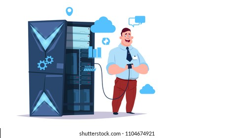 Data storage cloud center with hosting servers and staff. Computer technology, network and database, internet center, communication support, flat design