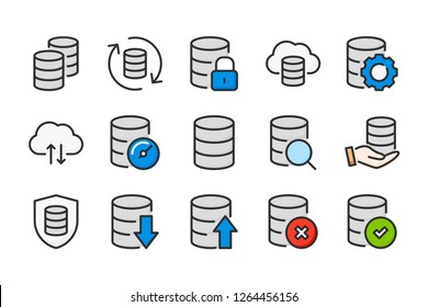 Data storage and database color line icons. Information archive and cloud service vector linear colorful icon set. Isolated icon collection on white background.