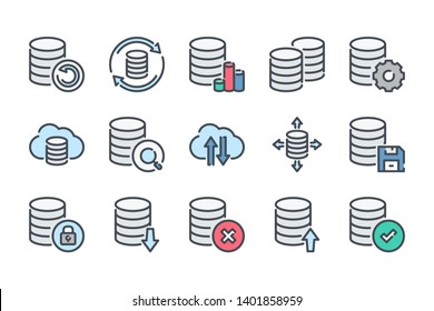 Data storage and database related color line icon set. Backup colorful linear icons. Data transfer and structure flat color outline vector signs and symbols collection.