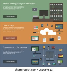 Data storage and organizing banners for websites flat design style