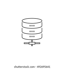 Data storage protection line icon, outline vector logo illustration, linear pictogram isolated on white
