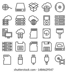 Data Storage and Server Vector icons Set