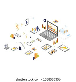 Data Storage and Technology Isometric Vector Illustration