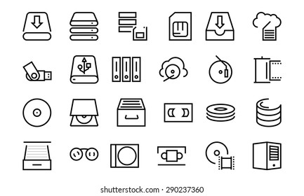 Data Storage Vector Line Icons 3