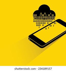 data stream, big data analysis, cloud computing on smart phone concept