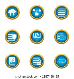 Data stronghold icons set. Flat set of 9 data stronghold vector icons for web isolated on white background