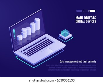 Data structuring and analysis, crm system concept, information processing and statistic, isometric laptop vector illustration on ultra violet background