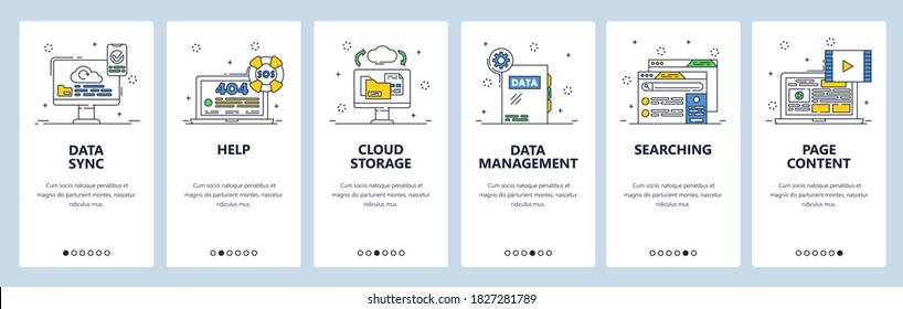 Data sync, cloud storage, page content, 404 error page not found. Data management. Mobile app screens. Vector banner template for website and mobile development. Web site design illustration.