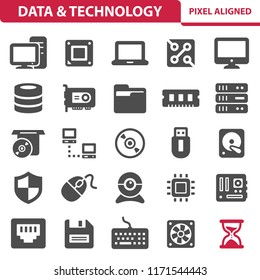 Data & Technology Icons. Professional, pixel perfect icons, EPS 10 format.