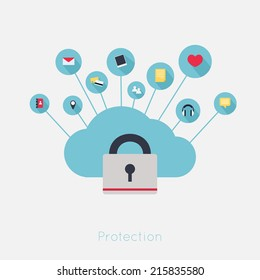 Data theft protection. Secure Cloud Computing. Cartoon vector.