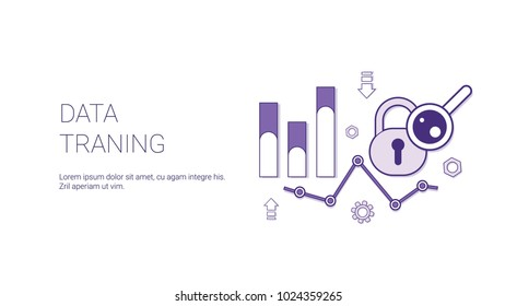 Data Traning Web Banner With Copy Space Business Finance Analysis Concept Vector Illustration
