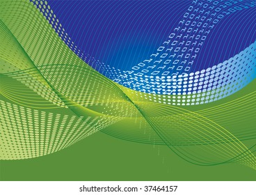 Data transfer abstract background with halftone effect and waves