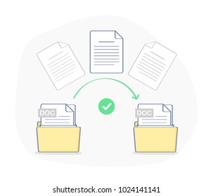 Data transfer, copying, uploading process, file sharing or sending documents from one file folder to another. Flat outline isolated vector illustration on white. Modern trendy ui element design.
