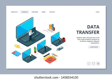 Data transfer landing page. Isometric information transfer web page. Business team, local network. Transfer data, datacenter cloud transfer information illustration