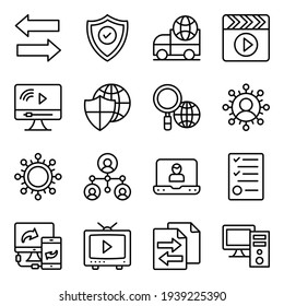 Data Transfer and Networking Linear Icons
