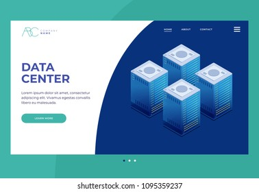 Data transmission technology. Illustration of network telecommunication server. Homepage. Header for website and mobile website.Internet equipment industry. 3d isometric design.