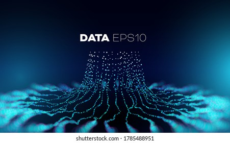 Data tree vector background. Big data technology. Database branch information. Futuristic code flow
