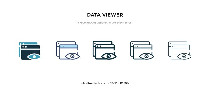 data viewer icon in different style vector illustration. two colored and black data viewer vector icons designed in filled, outline, line and stroke style can be used for web, mobile, ui