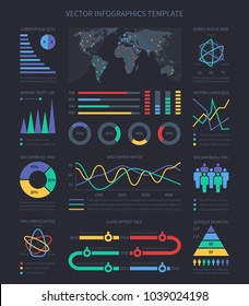 Data visualisation charts and diagrams, demographics infographics elements for marketing presentation. Chart and data diagram presentation of set. Vector illustration