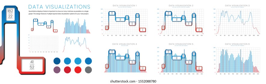 Data visualisations with bar chart, trend diagram and line diagram on a grid with numbers.  Graph features quantitative display of visual information by showing multiple levels of data on one graph.