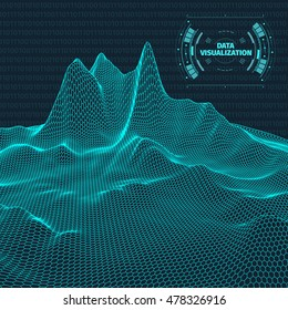 Data visualization background . Futuristic design hud element . Binary code , coding and programming concept . Wide angle wireframe landscape .