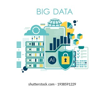 Data visualization concept, big data, vector illustration