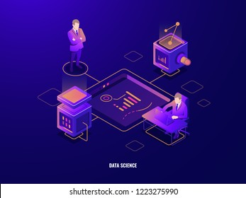 Data visualization concept, people teamwork isometric icon, cooperations, server room, programming and data processing, cloud storage, dark neon vector