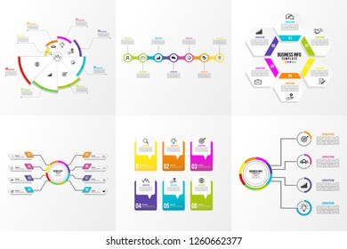 Data Visualization Set Infographics Elements Template Business Design Vector Editable most useful can be used for workflow, presentation, diagrams, annual report with options and steps