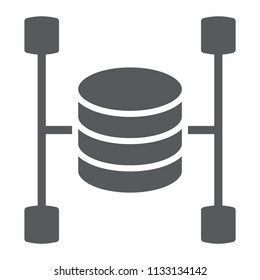 Data warehouse glyph icon, data and analytics, database sign, vector graphics, a solid pattern on a white background, eps 10.