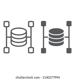Data warehouse line and glyph icon, data and analytics, database sign, vector graphics, a linear pattern on a white background, eps 10.