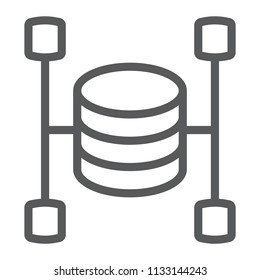 Data warehouse line icon, data and analytics, database sign, vector graphics, a linear pattern on a white background, eps 10.