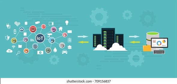 Data warehouse and represent data concept. Data mining. Backup process concept.