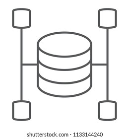 Data warehouse thin line icon, data and analytics, database sign, vector graphics, a linear pattern on a white background, eps 10.