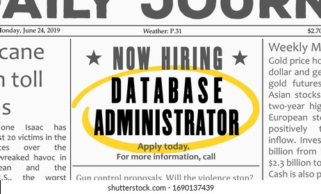 Database administrator - job offer. Newspaper classified ad career opportunity.