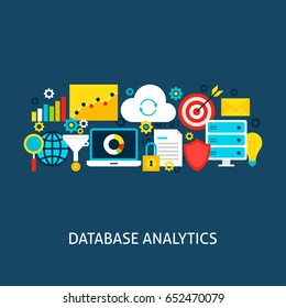 Database Analytics Flat Concept. Poster Design Vector Illustration. Set of Big Data Colorful Objects.