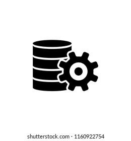 Database Center, Data Server Settings. Flat Vector Icon illustration. Simple black symbol on white background. Database Center, Data Server Settings sign design template for web and mobile UI element