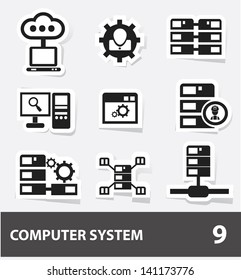 Database & computer system cartoon icons,vector