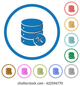 Database cut flat color vector icons with shadows in round outlines on white background