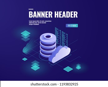 Database and data processing isometric icon vector, data center cloud storage, server room technology, programming and coding dark neon illustration