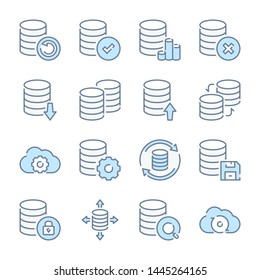 Database, Data storage and Backup archive related blue line colored icons.