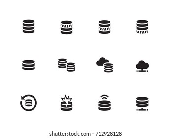 Database and Data vector icons on white background. Vector illustration.