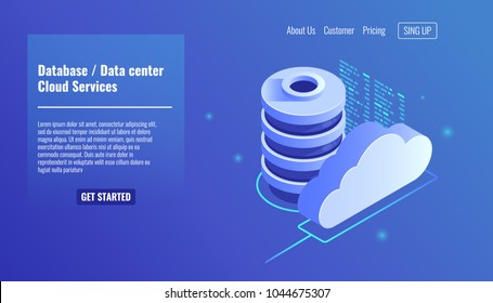 Database and datacenter icon, cloud services concept, file backup and saving, copy of file structure isometric vector