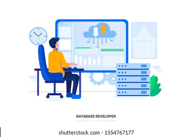 Database Developer concept with character. Can use for web banner, infographics, hero images. Flat vector illustration isolated on white background.